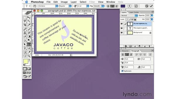 paragraph type: Learning Photoshop CS for the Web