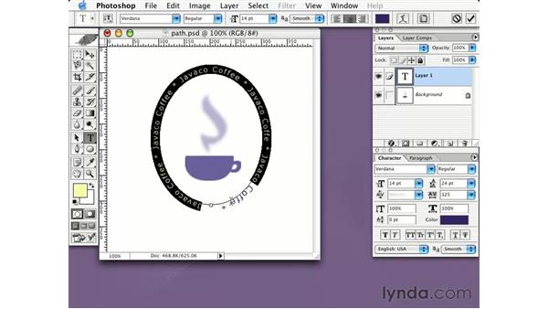 type on a path: Learning Photoshop CS for the Web