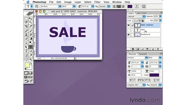 rasterizing and transforming type: Learning Photoshop CS for the Web