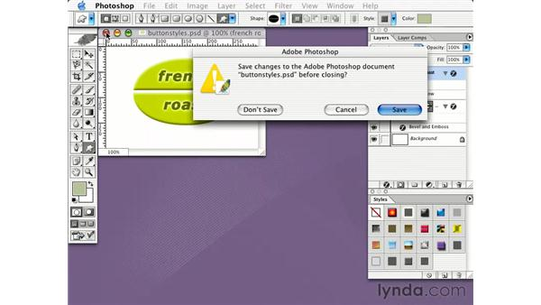 saving layer styles: Learning Photoshop CS for the Web