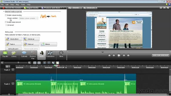 Leveling audio clips: Camtasia Studio 8 Essential Training