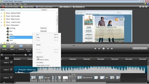 Adding background music: Camtasia Studio 8 Essential Training