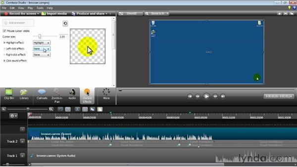 Using cursor effects: Camtasia Studio 8 Essential Training