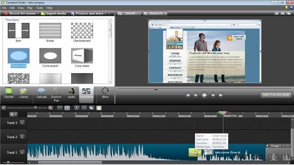 Adding transitions: Camtasia Studio 8 Essential Training