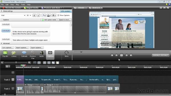 Exporting and importing captions: Camtasia Studio 8 Essential Training