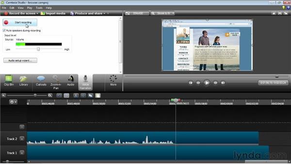 Adding a voiceover: Camtasia Studio 8 Essential Training