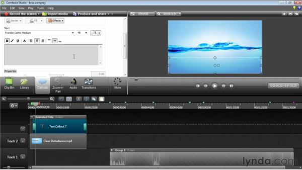 Using animated titles: Camtasia Studio 8 Essential Training