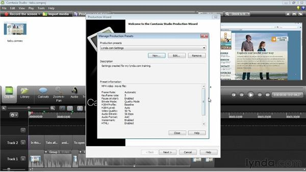 Sharing custom export settings: Camtasia Studio 8 Essential Training