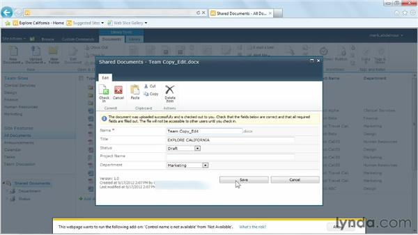 Uploading a single file: Managing Documents with SharePoint 2010
