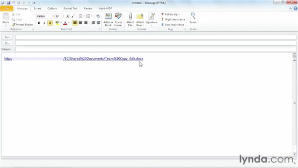 Emailing links: Managing Documents with SharePoint 2010