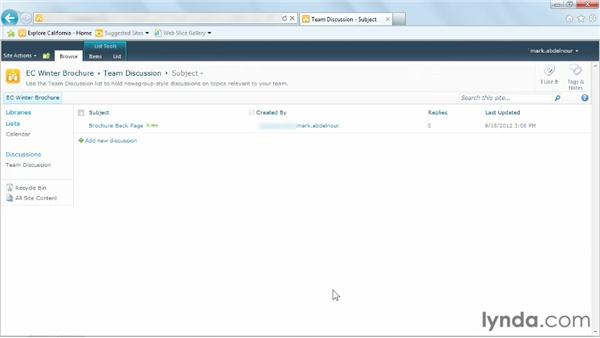 Collaborating through discussion boards: Managing Documents with SharePoint 2010