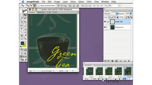 tweening with layer position and styles: Learning Photoshop CS for the Web