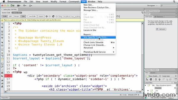 Enabling site-specific code hinting: Dreamweaver and WordPress: Core Concepts