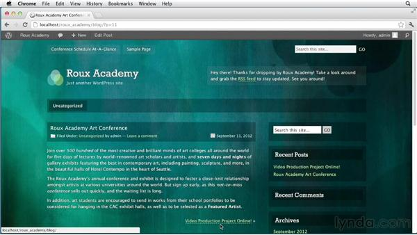 Activating a theme: Dreamweaver and WordPress: Core Concepts