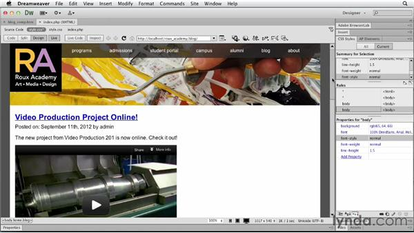 Setting up content columns: Dreamweaver and WordPress: Core Concepts