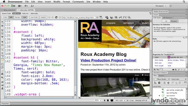 Changing the main content: Dreamweaver and WordPress: Core Concepts
