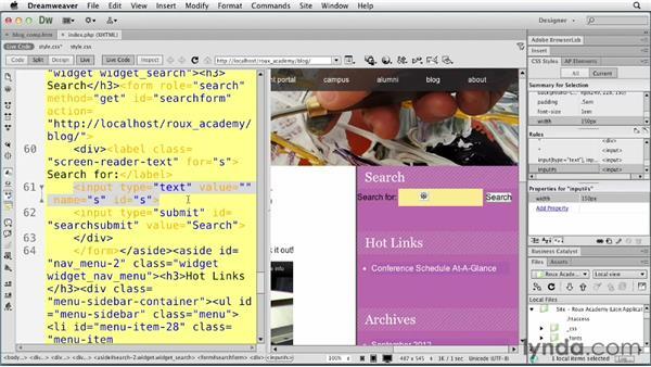 Styling search: Dreamweaver and WordPress: Core Concepts