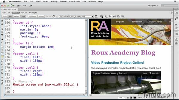 Setting up media queries: Dreamweaver and WordPress: Core Concepts