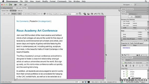Customizing for tablets: Dreamweaver and WordPress: Core Concepts