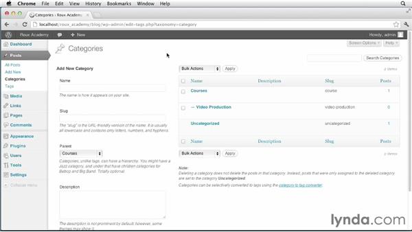 Working with categories and posts: Dreamweaver and WordPress: Core Concepts