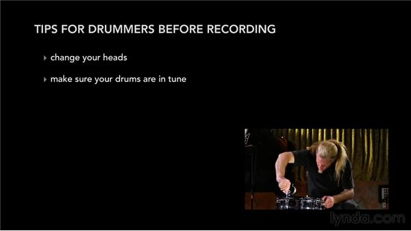 Tips for drummers to use before recording: Audio Recording Techniques