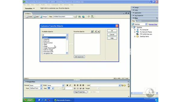 the insert bar: Dreamweaver MX 2004 Essential Training