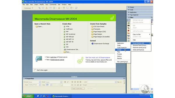 panels/panel groups: windows: Dreamweaver MX 2004 Essential Training