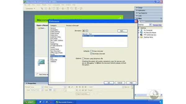 testing in web browsers: Dreamweaver MX 2004 Essential Training