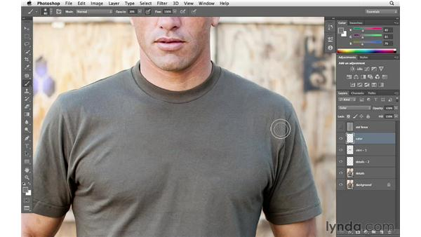 Working on the details of the shirt: Enhancing an Environmental Portrait with Photoshop
