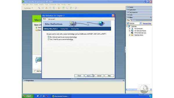 defining a site: Dreamweaver MX 2004 Essential Training