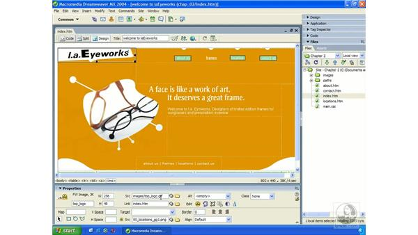 relative/absolute links: Dreamweaver MX 2004 Essential Training