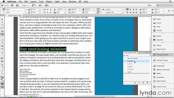 Using styles to mimic CSS behavior: InDesign for Web Design