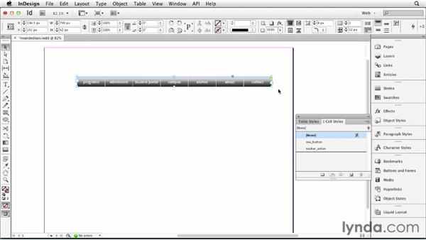 Designing a rounded-corner navbar with tables: InDesign for Web Design