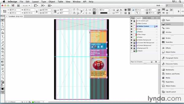 Using separate InDesign files for a modular template: InDesign for Web Design