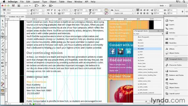 Adding custom page content: InDesign for Web Design