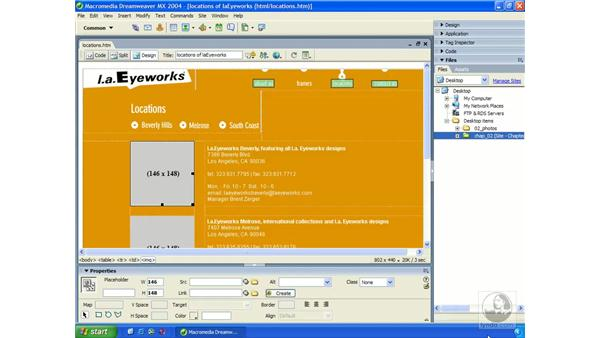 using the file browser: Dreamweaver MX 2004 Essential Training