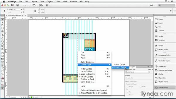 Using the guide-based Liquid Layout rule: InDesign for Web Design