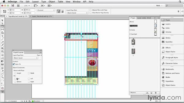 Establishing object-based Liquid Layout rules: InDesign for Web Design