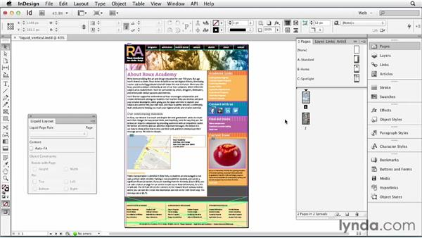 Using Liquid Layout for varying page heights: InDesign for Web Design