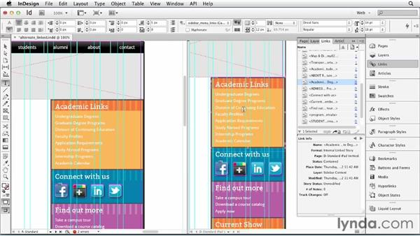 Diving deeper into the alternate layout: InDesign for Web Design