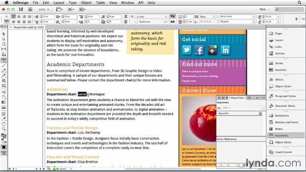 Adding hyperlinks: InDesign for Web Design