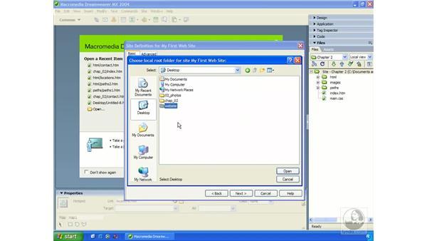 creating a site from scratch: Dreamweaver MX 2004 Essential Training