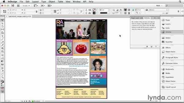 Exporting web-optimized images: InDesign for Web Design