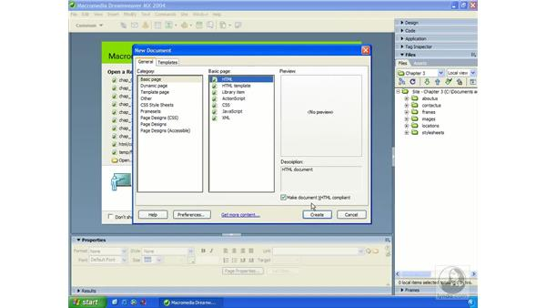 creating new documents: Dreamweaver MX 2004 Essential Training
