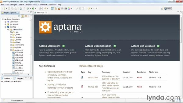Importing an existing project: Up and Running with Aptana Studio 3