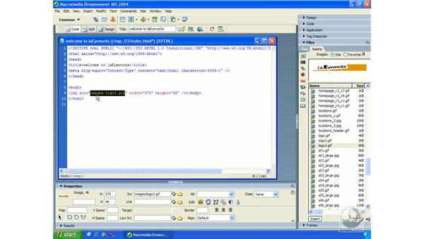 inserting images: Dreamweaver MX 2004 Essential Training