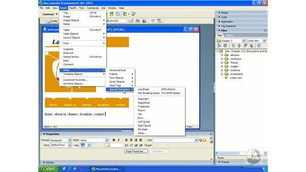 inserting text: Dreamweaver MX 2004 Essential Training
