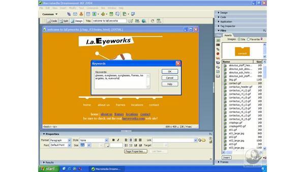 META tags: Dreamweaver MX 2004 Essential Training