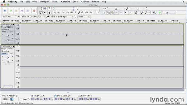 Playing audio: Up and Running with Audacity