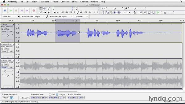 Making selections: Up and Running with Audacity